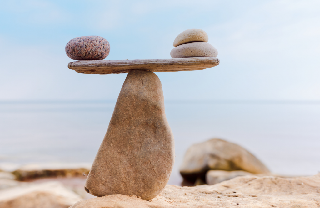 Balancing rocks on a beach