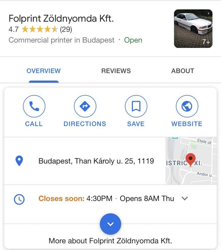 Folprint Zöldnyomda Google Cégem keresési találat