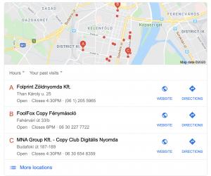 Google Cégem keresési találat